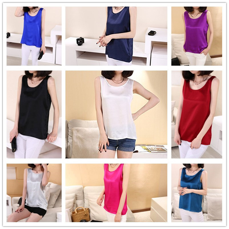 Free shipping 100% pure nature silk women tank tops basic tops real silk sleeveless top fashion summer clothing multicolor