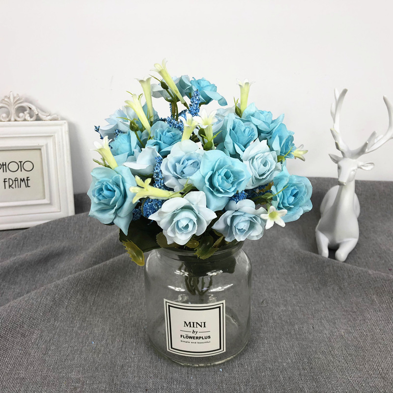 10heads silk roses Bride bouquet Wedding christmas decoration for home vase ornamental flowerpot artificial flowers scrapbooking in Artificial Plants from Home Garden