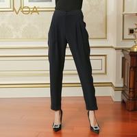 VOA женские офисные Высокое качество 100% тяжелый шелк шаровары для женщин; Большие размеры твердые Глубокий Темно синие брюки Повседневное пл