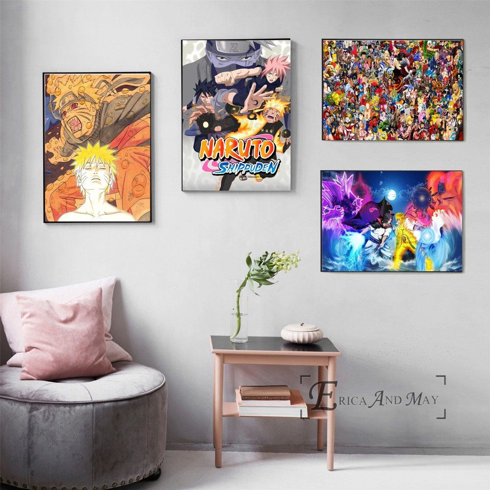 Naruto Action Figure Anime Canvas Painting Posters And Prints For Living Room No Framed Wall Art Picture Home Decor On Sale