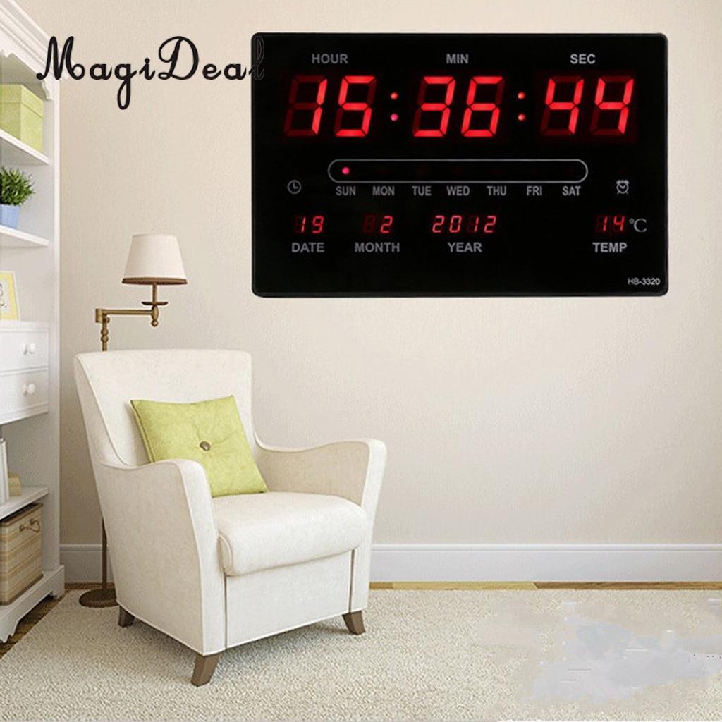 Bureau Numérique LED Table Bureau Nuit Horloge Murale 24 Heure Affichage Montre Temps Chambre Salon