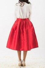 2016 Street Style Fashion Women Matte Satin Skirts Chic A Line Invisible Zipper Custom Made Tea Length Skirts