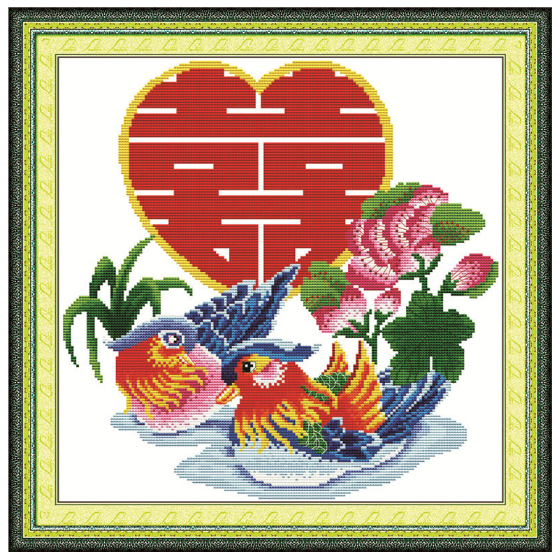 Double Happiness with One Heart Counted Cross Stitch 11 14CT Cross Stitch Sets Animals Cross Stitch Kits Embroidery Needlework