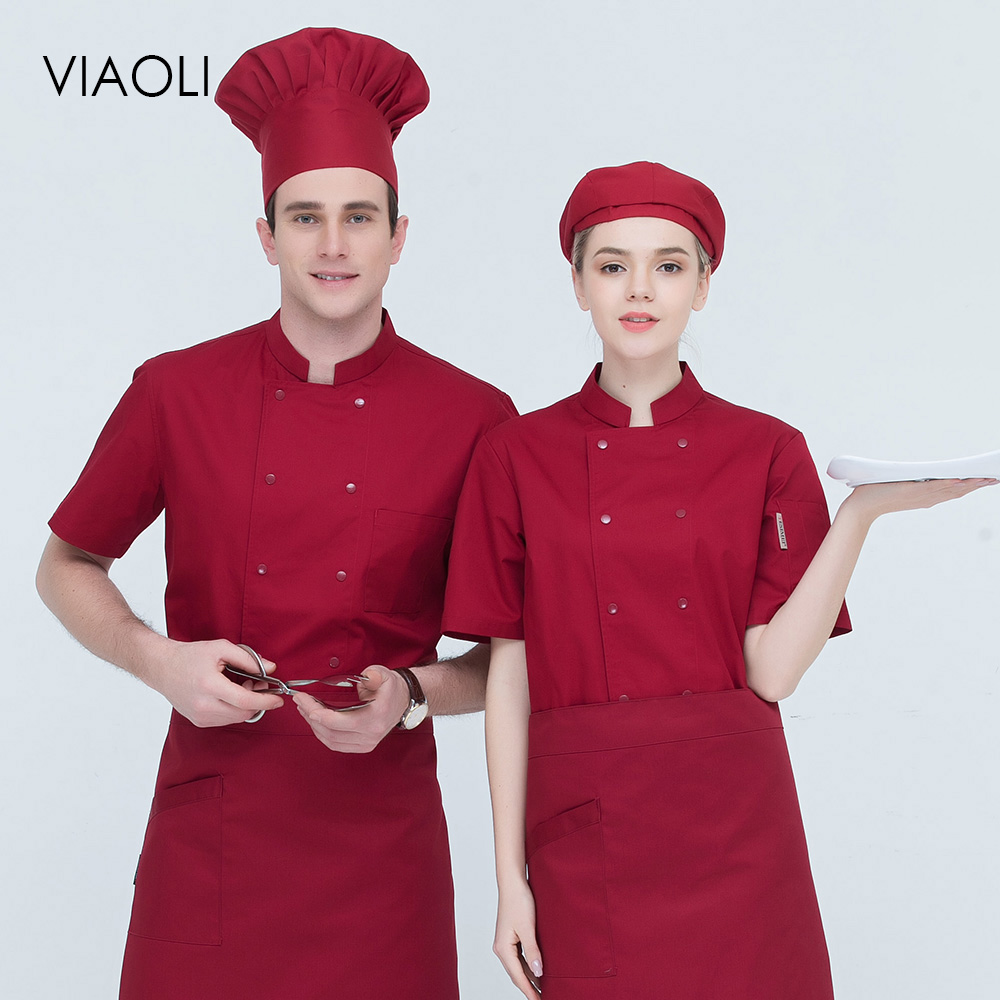 New Short Sleeved Men And Women Chef Coat Restaurant Uniforms Shirts Hotel Kitchen Chef Jacket Food Service Chef Work Clothes