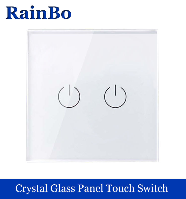 New Crystal Glass Panel wall switch EU Standard 110~250V Touch Switch Screen Wall Light Switch 2gang1way White rainbo Brand smart home us au wall touch switch white crystal glass panel 1 gang 1 way power light wall touch switch used for led waterproof