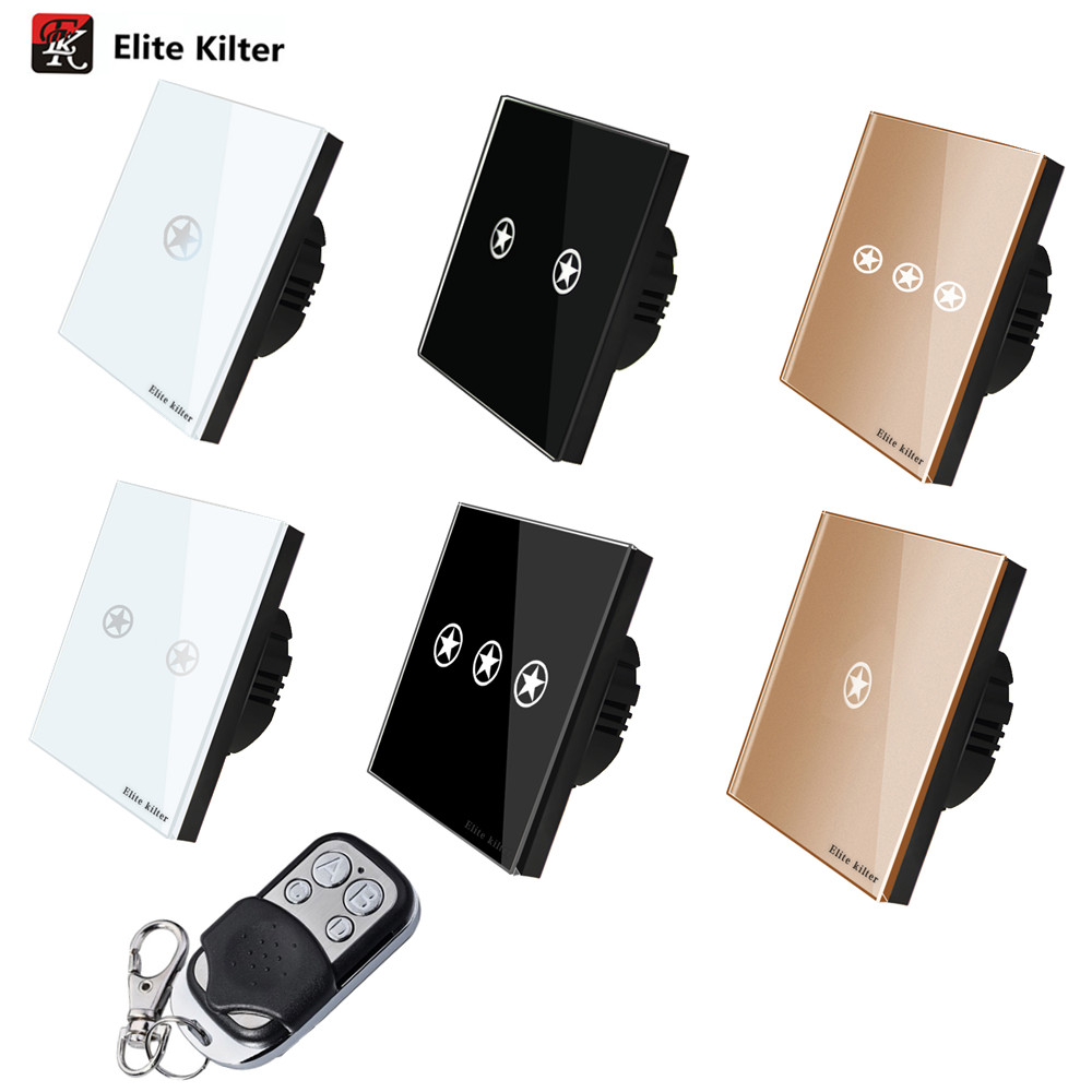 Elite Kilter EU Standard Switch Wall Touch Switch Luxury White Crystal Glass, 1/2/3 Gang 1 Way AC170V~250V Remote touch switc