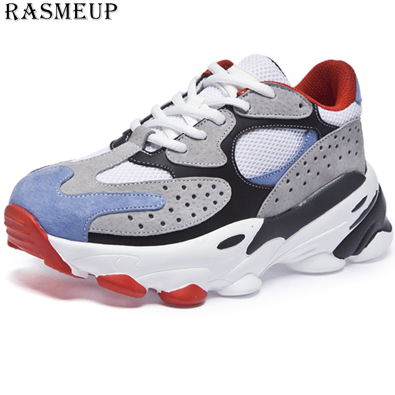 RASMEUP Plus Size Women's Chunky Sneakers Genuine Leather Mesh Breathable Women Trainers 2019 Fashion Basket Lady Platform Shoes