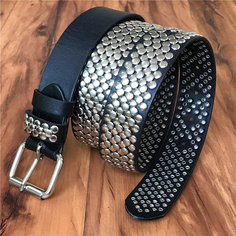 Heavy Metal Men   Belt   Rivet Cowboy Jeans   Belts   Genuine Leather Male Waist Punk Rock Ceinture Homme Hip Hop Man Strap MBT0071