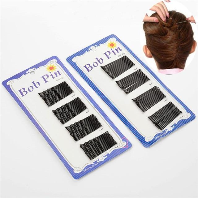 60 Pcs/Set Hair Waved U-shaped Curly Wavy Bobby Pin Barrette Salon Grip Clip Hair Pins Black 4.5cm  Free Shipping