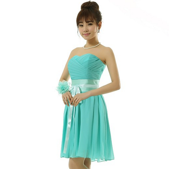 Girls Turquoise Strapless Short Country Chiffon Bridesmaid