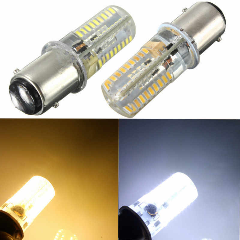 New 72 LED Light Bulb BAY15D 1157 3014SMD Silicone Crystal Marine Lights Car Boat Lamp Bulb Lighting AC/DC110VWarm Pure White