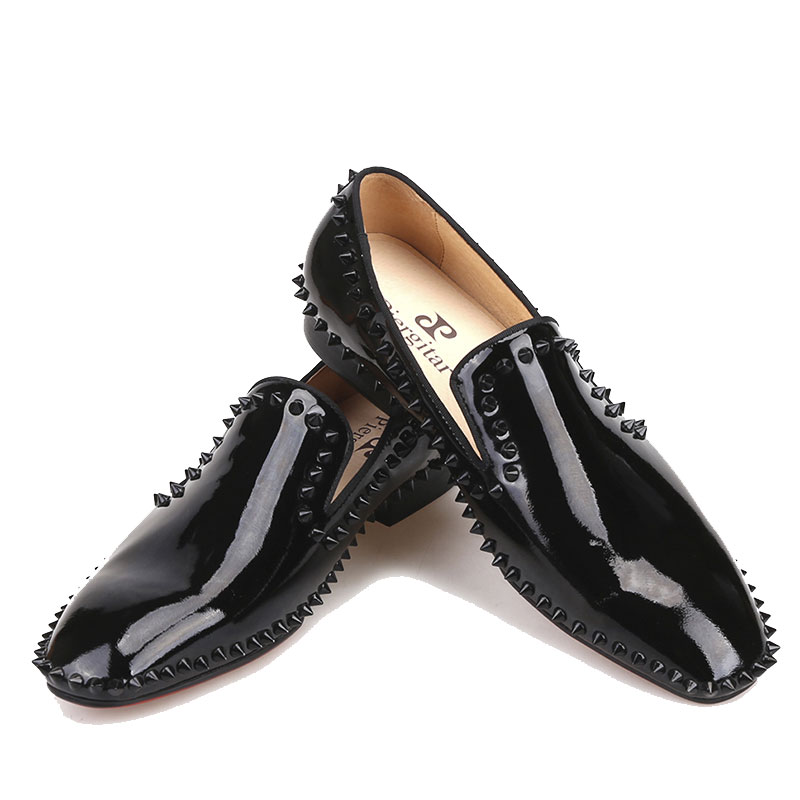 Flats Rivets Evening-Shoes Surom Men's Casual Fashion New Patent And Male Krampon Party