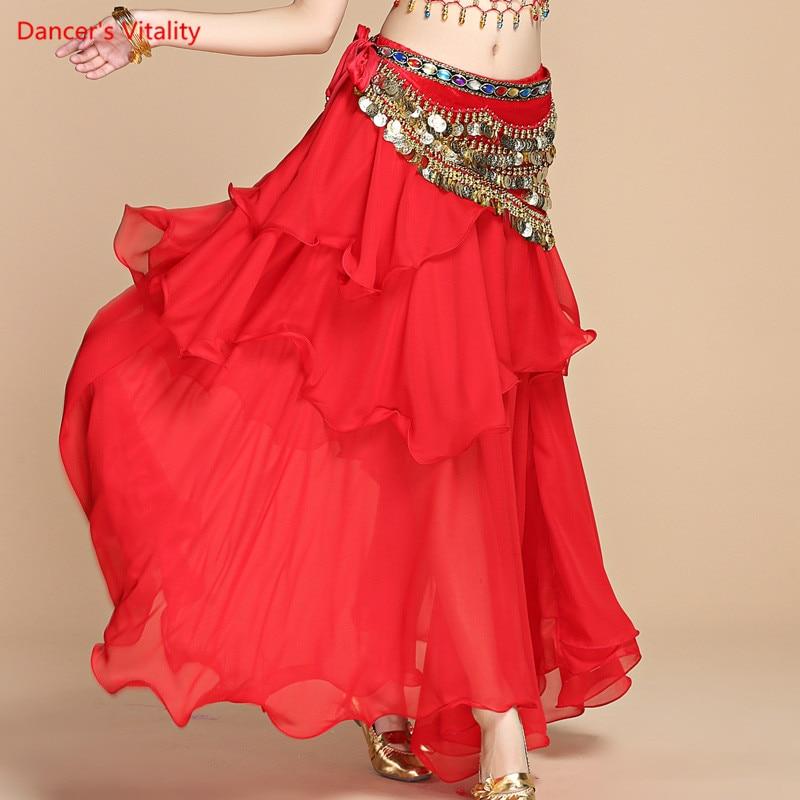 Belly Dance Long Skirt Belly Dance Skirt  Belly Dance Stage Performance Skirt Female Three-Layer Chiffon Dress Practice Skirt