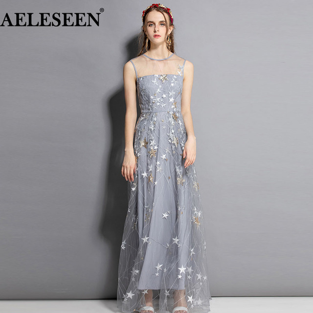 ae9cfa5f41c AELESEEN European Silver Women Dresses 2018 Fashion Sequined Summer Hollow  Out Luxury Starry Sky Embroidery Designer Long Dress