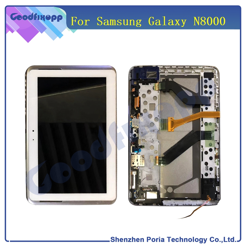 For Samsung Galaxy Tab 10.1 N8000 N8010 LCD Display With Frame Touch Screen Digitizer Assembly Tablet N8000 LCD Screen Parts for samsung galaxy s4 active i9295 blue lcd touch digitizer screen frame assemblyy
