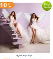 beautiful white angel feather wings Fashion feather accessories Wedding photo shoot Magazine shooting props