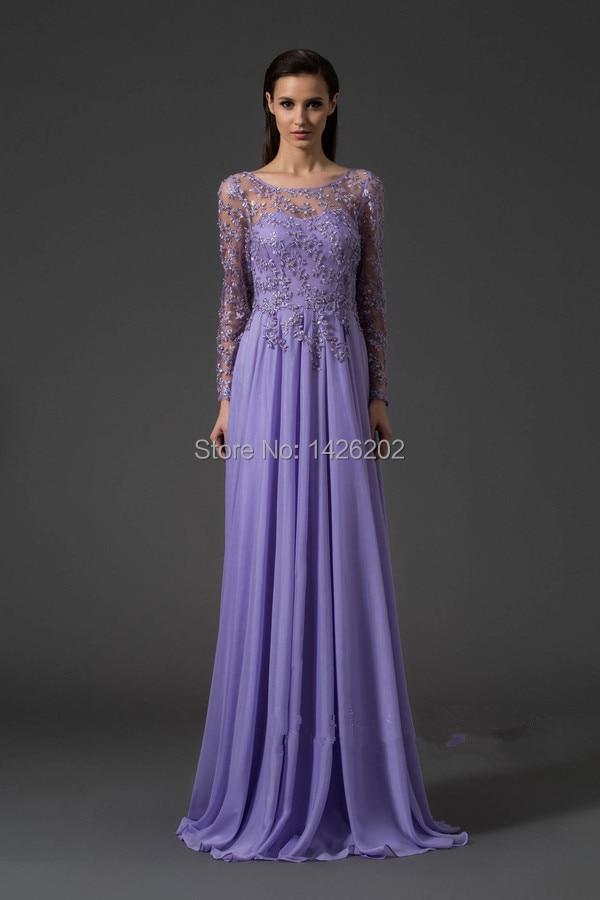 Romantic Purple Chiffon Lace Long Sleeve Sexy Backless dress party ...