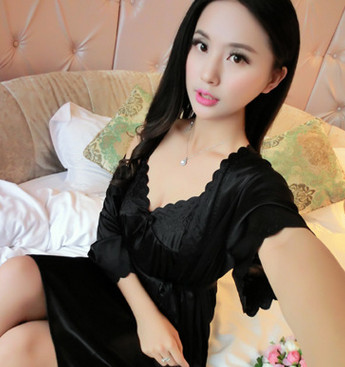 2017 New  summer style Night Dress Nightgown Nightdress pijama Ladies Sleepwear Women Silk Nightwear Sexy Lingerie AZ240