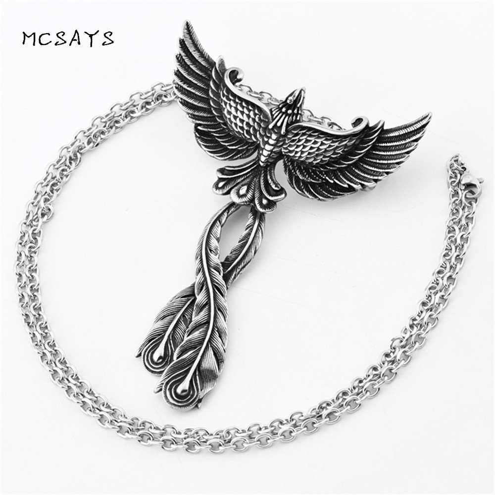 цены MCSAYS Stainless Steel Jewelry Charm Phoenix Pendant Link Chain Bird of Wonder Animal Necklace Unisex Fashion Accessories 2HP