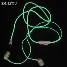 SMILYOU 2017 Glow In The Dark Earphones Stereo Super Bass Headphones Luminous Night Lighting Headset Glowing Handsfree With Mic