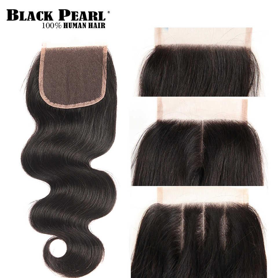 Armadura de pelo brasileño Perla Negra paquetes de onda del cuerpo con cierre brasileño pelo humano no Remy 3 4 paquetes con cierre