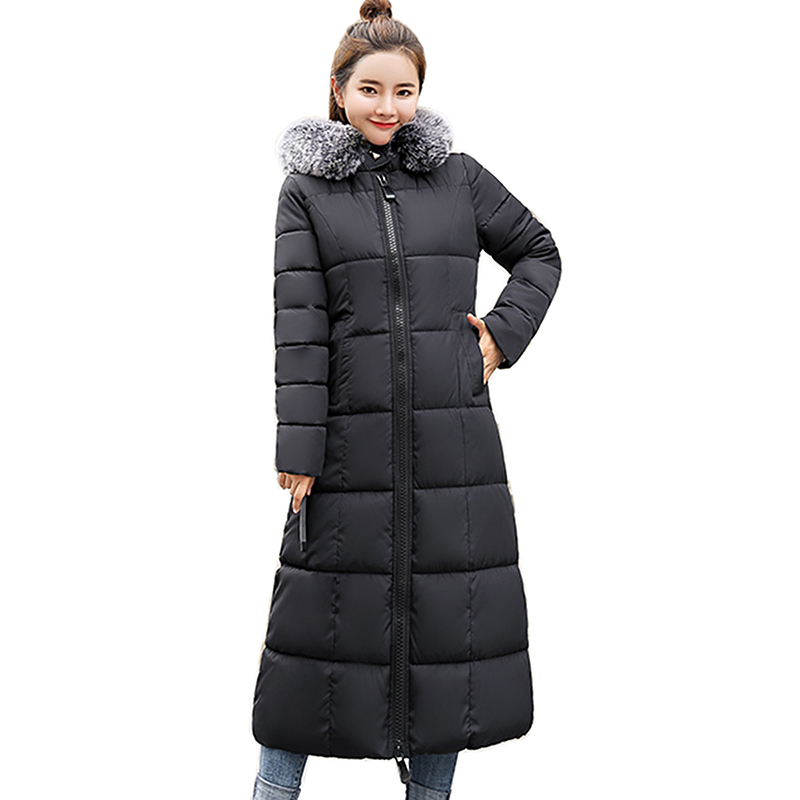 2018 women long cotton-padded jacket Fashion winter jacket women fur collar coat women thick Womens Outerwear   Parkas   for Women