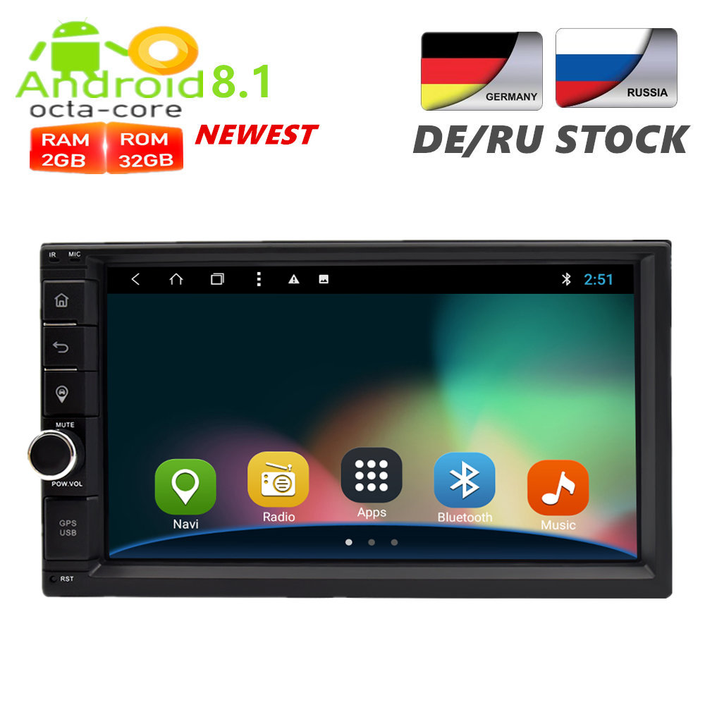 2 Din Android 8.1 Universal Car Radio GPS Navigation Multimedia Player Auto Audio Stereo Headunit 2G RAM 32G ROM FM Rds Wifi DAB android 8 0 2 din 7 universal car radio no dvd player gps navigation 4gb ram car stereo fm rds wifi 4g dab headunit