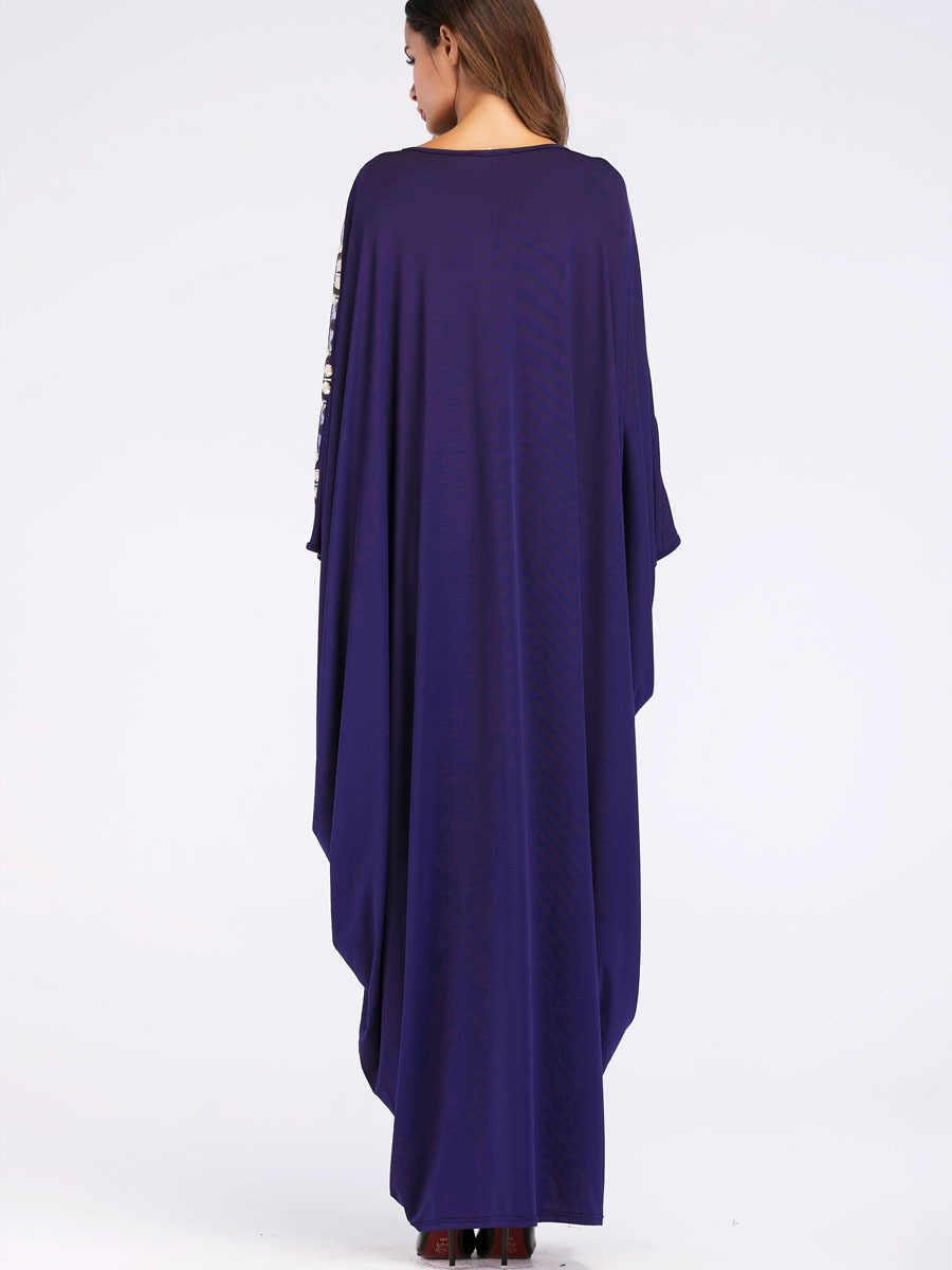 Allentato Moslim Abaya Dubai 2018 Nuovo Stile Paillettes Blu Musulmano Lungo Del Pavimento Del Manicotto del Vestito Caftano Islamico Maxi Abiti Ucraina Robe