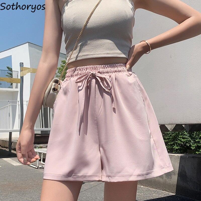 Shorts Women Elegant Ulzzang Harajuku Kawaii Chiffon Female Summer Loose Korean Style All-match High Waist Chic Womens Trousers