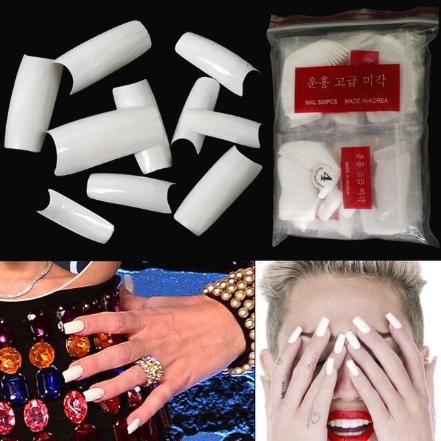100pcs White Full Cover Acrylic Nail Tips False Nail Art Tips Full ...