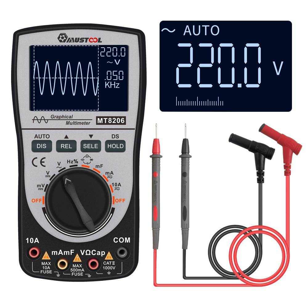 2 in 1 MT8206 Intelligent Digital Oscilloscope Multimeter MUSTOOL Upgraded Analog Bar Graph 200k High-speed A/D Sampling