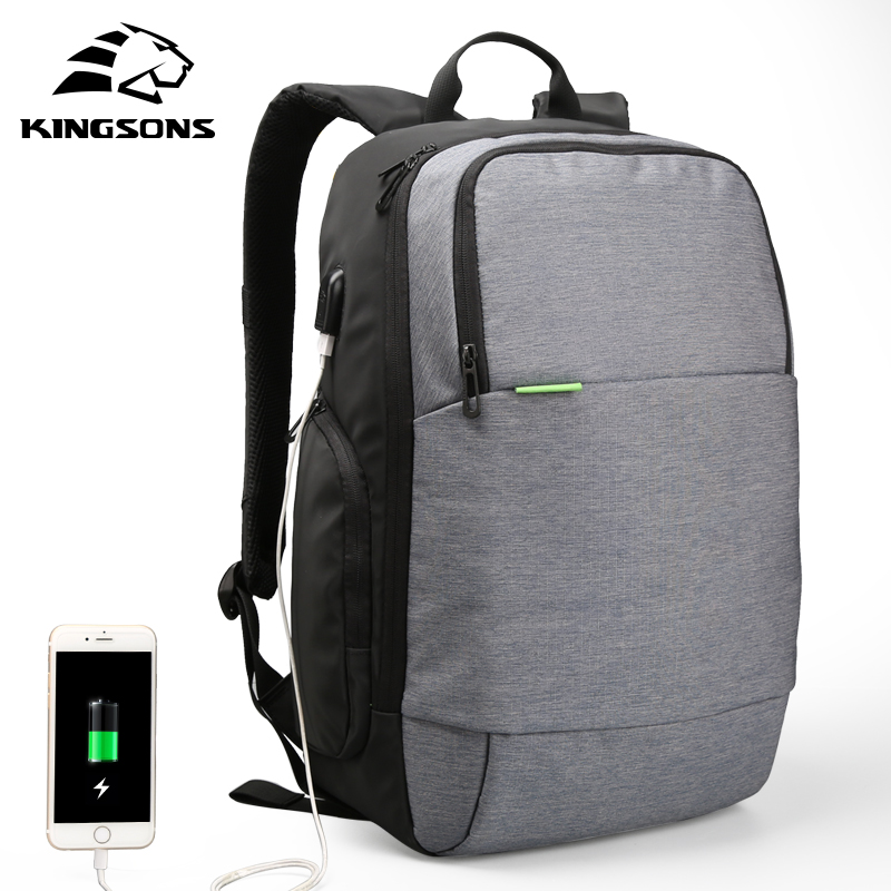 Kingsons Brand External USB Charge Laptop Backpack Anti-theft Notebook Computer Bag 15.6 inch for Business Men Women lowepro protactic 450 aw backpack rain professional slr for two cameras bag shoulder camera bag dslr 15 inch laptop