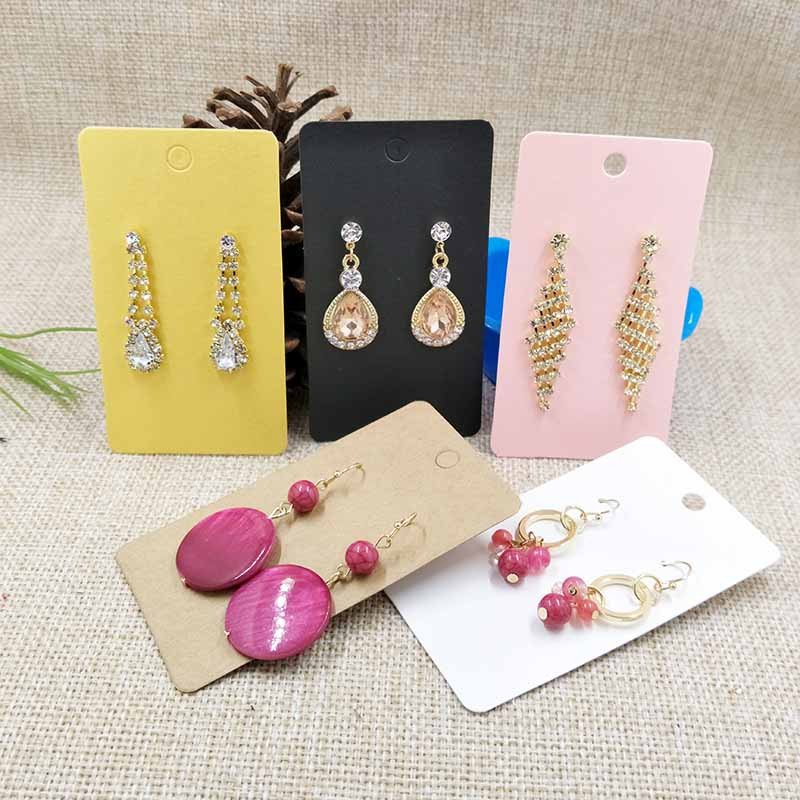 Kraft Earring  Card For 1 Pair Earring 5X9cm Mult Colours Black/Kraft/Pink/White/Yellow For Middle Long Earring 1lot=100 Pcs