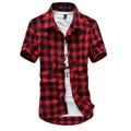 Красный И Черный Плед Рубашку Мужчины Рубашки 2016 Новый Летний мода Сорочку Homme Мужские Клетчатые Рубашки С Коротким Рукавом Рубашки Мужчины дешевые