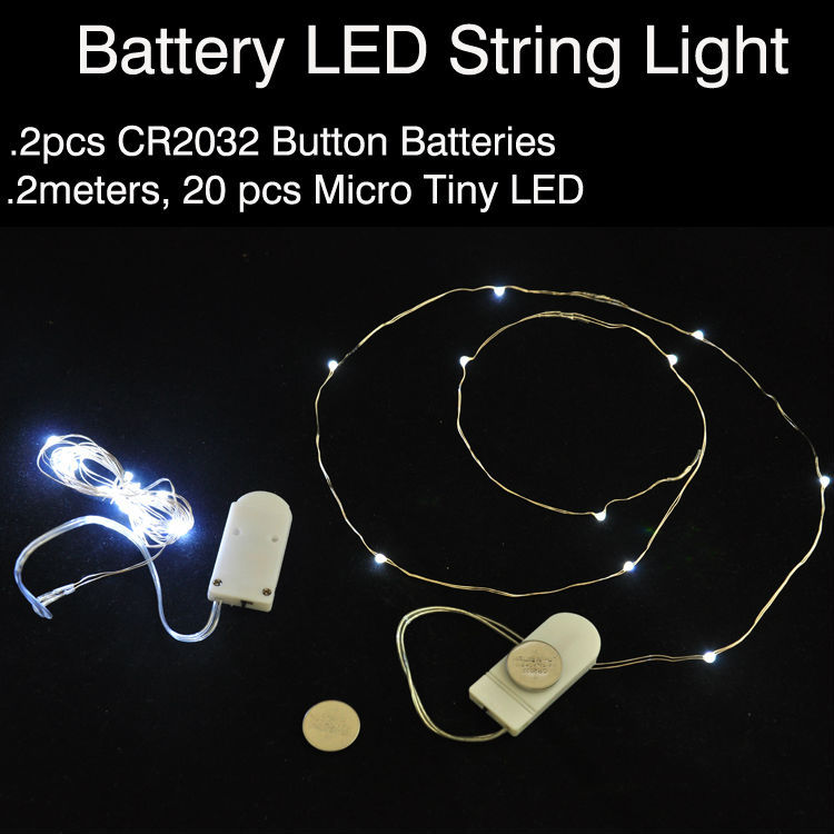 10pcs/lot CR2032 Button Battery Operated 2M 20 Micro LED String Lights,Led Fairy Light For Christmas Xmas Party Wedding Decor