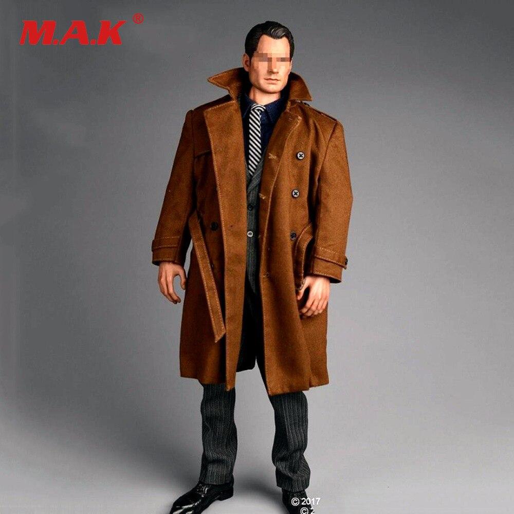 1/6 Forte Gentleman Costume Brun Pardessus veste + chemise + Kaki coupe-vent + pantalon & chaussures Vêtements Pour 12 mâle poupée Action Figure