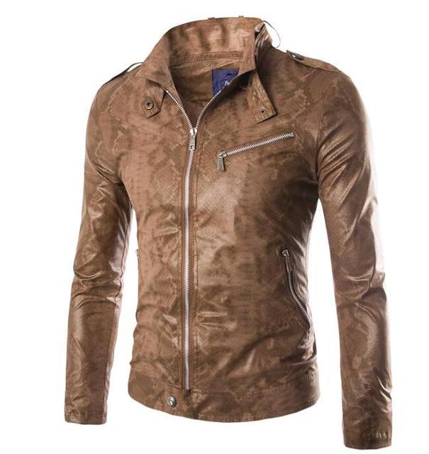 Free shipping ! 2017 fashion men slim male personality snakeskin men leather jacket motorcycle clothing coat jaqueta de couro