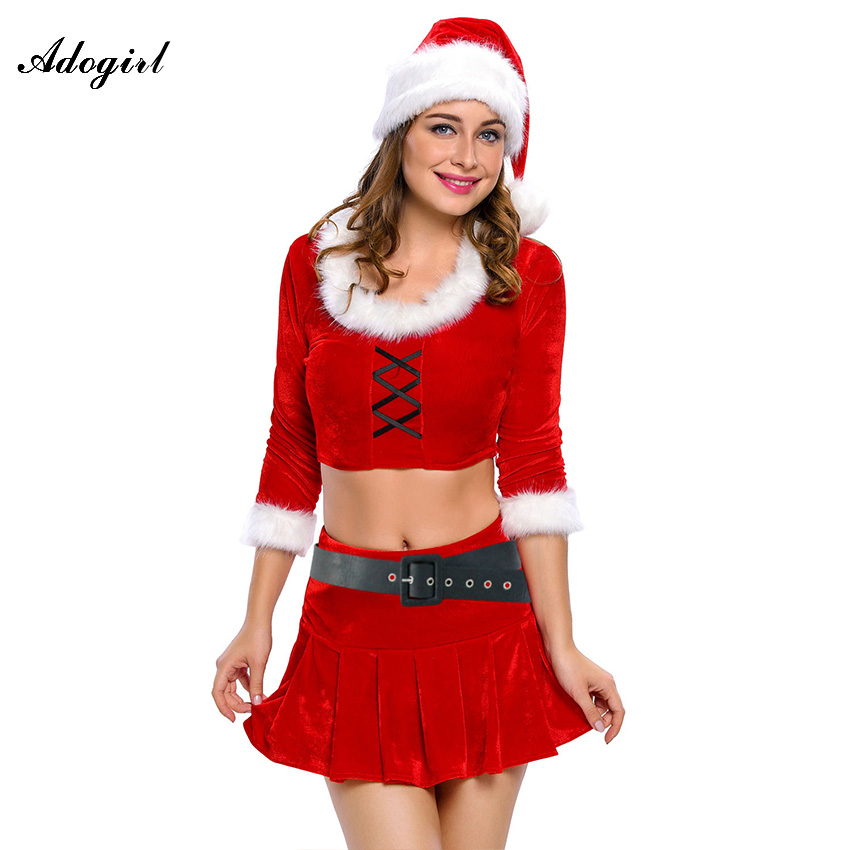 Adogirl Womans Christmas Dress Sexy Red Christmas Adult Sexy Ms. Santa Costume Christmas Clothing Women Roleplay Sexy Costumes