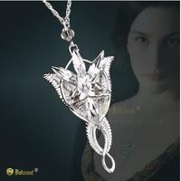Bahamut 925 Sterling Silver The LOTR Silver Arwen Evenstar 7 Crystals Pendant Women's Necklace The Lord of The Rings Jewerly