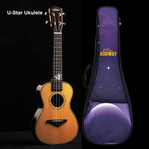 Acouway Ukulele Concert Solid-Spruce with Bag Top Glossy-finish/12-zodiac/Birthday-gift/Present