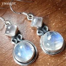 YWOSPX Винтаж имитация лунного камня из желтого золота серебра Цвет Длинные Висячие серьги для Для женщин ювелирные изделия для свадьбы Обручение Серьги Подарки Y30