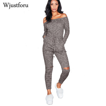 Women Long Sleeve Knitted Off The Shoulder Jumpsuit