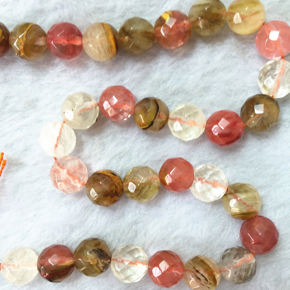 Romantic Tourmaline stone 12mm Multicolor Watermelon jade Faceted Round Loose Bead 15'' MY5365