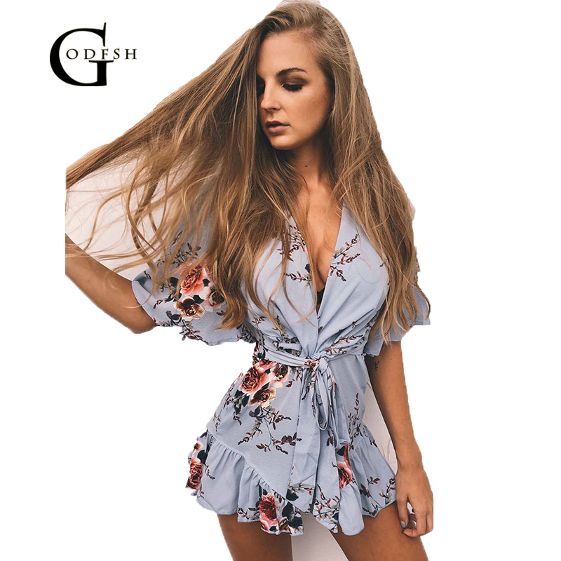 GODFSH 2018 New Onepiece Floral Playsuits Women Jumpsuit Summr Boho Bodysuit Womens Short Romper Overalls Feminino WH107