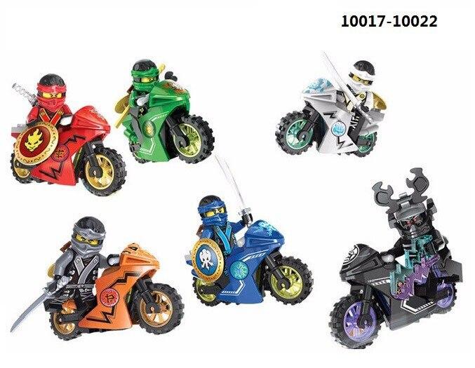 Ninja Kai Jay Cole Zane Lloyd Lord Garmadon with Motorcycle Building Block Set Kids Toy Compatible