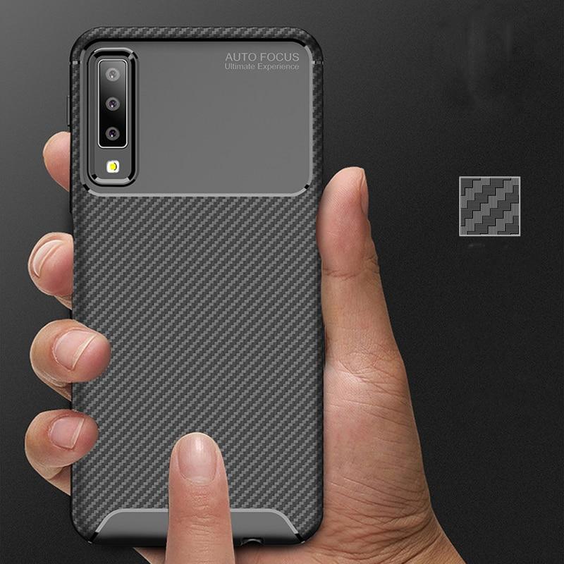 A7 2018 Armor Carbon Fiber Case for Samsung Galaxy A7 2018 Case Silicone Back Cover for Galaxy A750 Cell Cover Coque Fundas