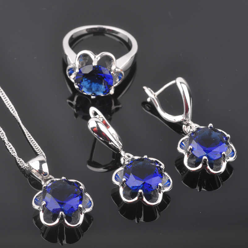 FAHOYO פשוט פרח כחול Zirconia נשים של 925 כסף תכשיטי סטי עגילים/תליון/שרשרת/טבעות QZ0133