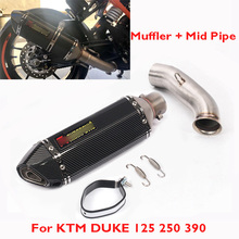 DUKE 390 250 125 Motorcycle Muffler Exhaust Pipe Silencer Escape & Mid Connect Link Pipe for KTM 125 250 390 2017 2018 цены онлайн