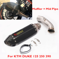 DUKE 390 250 125 Motorcycle Muffler Exhaust Pipe Silencer Escape & Mid Connect Link Pipe for KTM 125 250 390 2017 2018