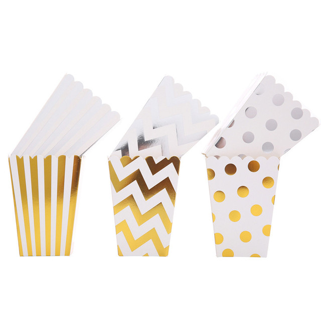 6 pcs Pipoca de Ouro Caixa de Doces Para Fonte do Partido de Aniversário de Casamento Caixa de Papel Favor Do Presente Do Chuveiro de Bebê Caixa de Doces lanches sacos de papel
